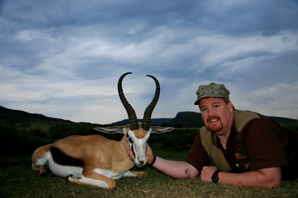 """The Common Springbuck of 2012 – were ridiculous. This was the hardest category to select. So many great rams were hunted during the season, but in the end it came down to this unbelievable ram by Steve Travis. Steve's ram came in at 17"""" with heavy bases and a great shape. We reckon with our current management structures in place we'll be seeing rams of this quality in the future, but that will be in 4-5 years time - for now this is as good as it's ever been."""