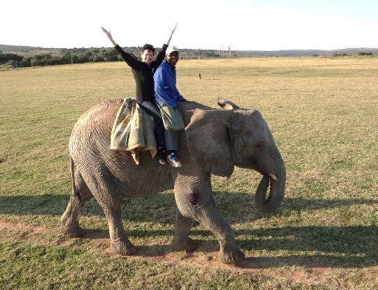 Wilson was absolutely with me as I crossed off my Bucket List … Riding an elephant in the wild of Africa. Look close he's in my left pocket!